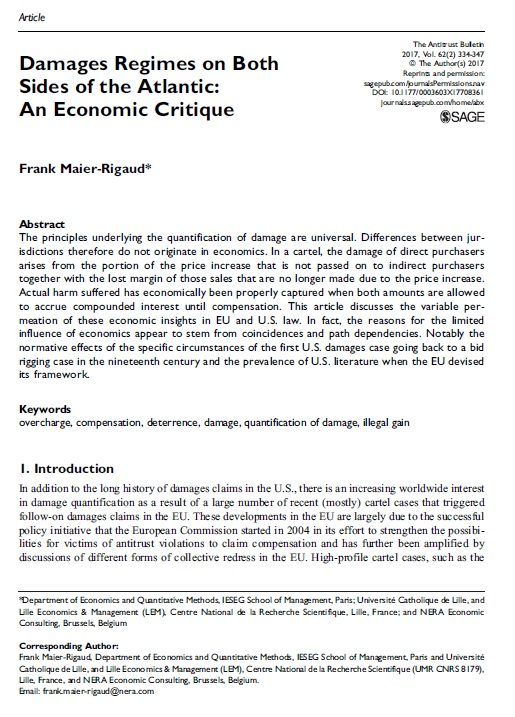 Damages Regimes on Both Sides of the Atlantic: An Economic Critique