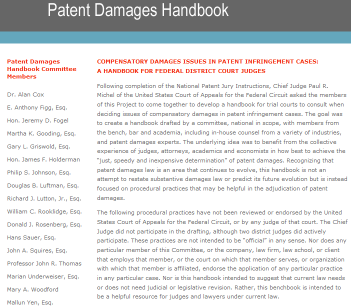 Nera Expert Serves On Committee To Develop Patent Damages Handbook