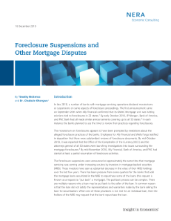 Foreclosure Suspensions and Other Mortgage Disputes