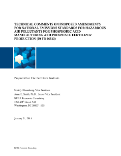 Technical Comments on Proposed Amendments for National Emissions Standards for Hazardous Air Pollutants for Phosphoric Acid Manufacturing and Phosphate Fertilizer Production (79 FR 66512)