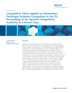 Competition Policy Applied to Information Exchanges between Competitors in the EU: Proceedings of the Spanish Competition Authority in a Recent Case