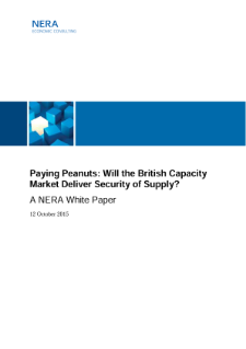 Paying Peanuts: Will the British Capacity Market Deliver Security of Supply?