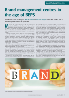 Brand management centres in the age of BEPS