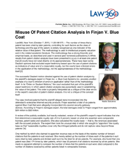 Misuse of Patent Citation Analysis in Finjan v. Blue Coat