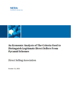 An Economic Analysis of the Criteria Used to Distinguish Direct Sellers from Pyramid Schemes