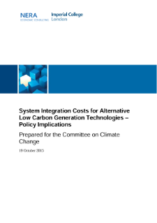 System Integration Costs for Alternative Low Carbon Generation Technologies – Policy Implications