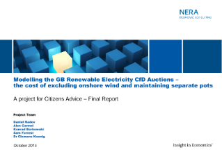 Modelling the GB Renewable Electricity CfD Auctions – the cost of excluding onshore wind and of maintaining separate pots