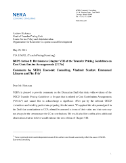 BEPS Action 8: Revisions to Chapter VIII of the Transfer Pricing Guidelines on Cost Contribution Arrangements