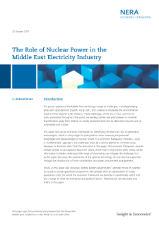 The Role of Nuclear Power in the Middle East Electricity Industry