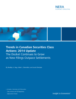Trends in Canadian Securities Class Actions: 2014 Update; The Docket Continues to Grow as New Filings Outpace Settlements