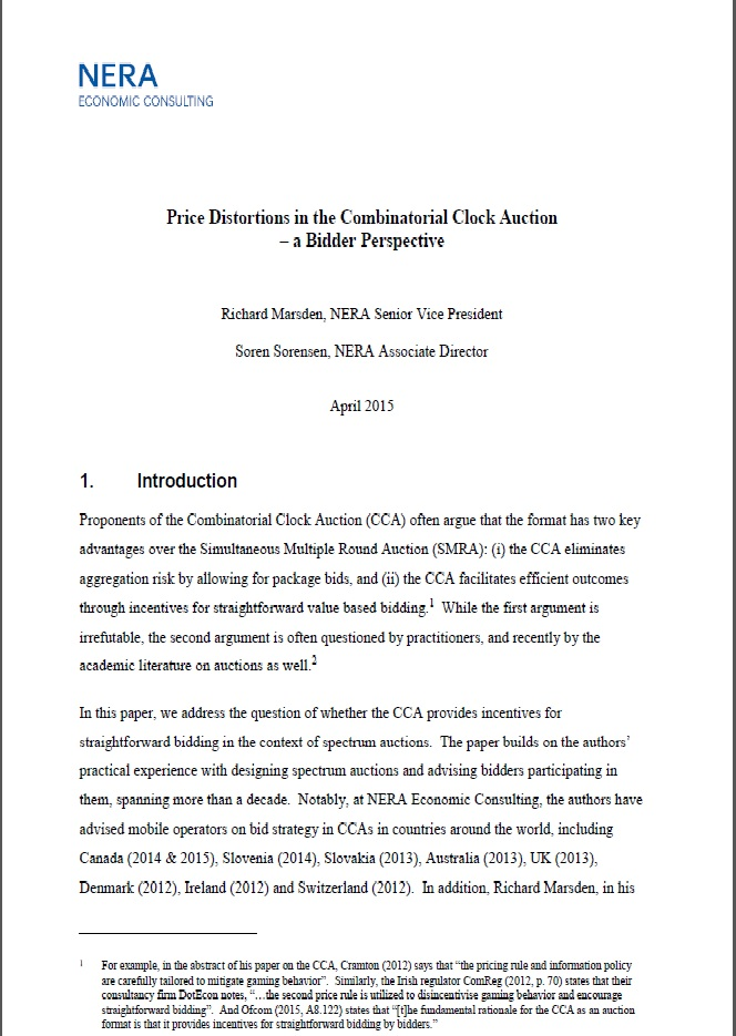 NERA Report on Strategic Bidding in Combinatorial Clock Auctions