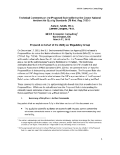 Technical Comments on the Proposed Rule to Revise the Ozone National Ambient Air Quality Standards (79 Fed. Reg. 75234)