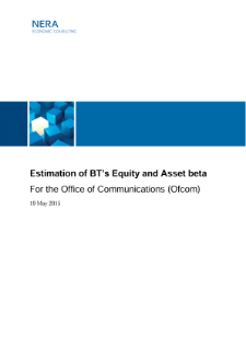 Estimation of BT's Equity and Asset beta