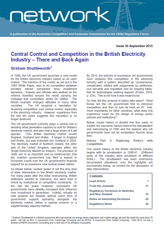 Central Control and Competition in the British Electricity Industry – There and Back Again