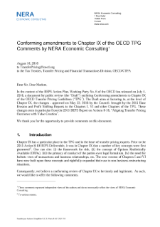 Discussion of the Amendments to Chapter IX of the OECD Transfer Pricing Guidelines on Business Restructuring