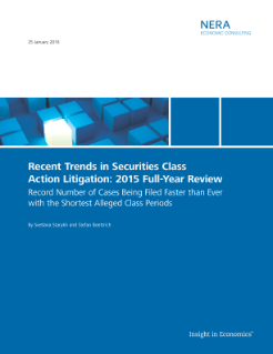 Recent Trends in Securities Class Action Litigation: 2015 Full-Year Review
