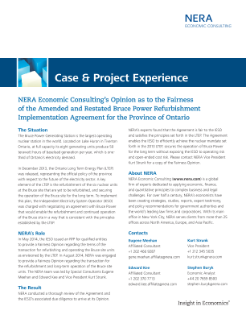 NERA Economic Consulting's Opinion as to the Fairness of the Amended and Restated Bruce Power Refurbishment Implementation Agreement for the Province of Ontario
