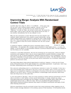 Improving Merger Analysis With Randomized Controls Trials