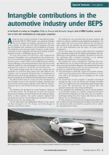Intangible Contributions in the Automotive Industry Under BEPS