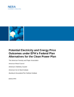 Potential Electricity and Energy Price Outcomes under EPA's Federal Plan Alternatives for the Clean Power Plan