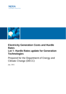 Hurdle Rates and the Cost of Capital for Financing Electricity Generation in the UK