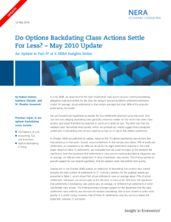 Do Options Backdating Class Actions Settle for Less? -- May 2010 Update
