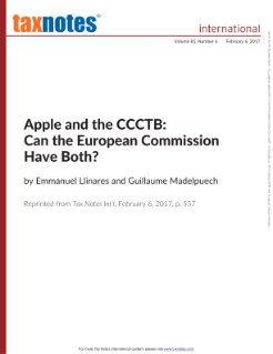 Apple and the CCCTB: Can the European Commission Have Both?