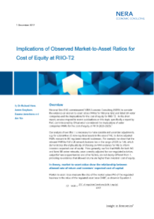 NERA Economists Consider Implications of Market-to-Asset Ratios for Cost of Equity at RIIO-T2