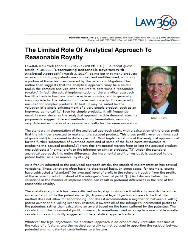 The Limited Role of Analytical Approach to Reasonable Royalty