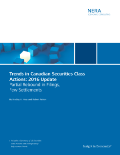 Trends in Canadian Securities Class Actions: 2016 Update