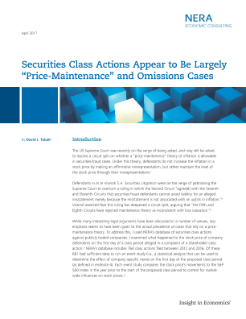 Securities Class Actions Appear to Be Largely 'Price-Maintenance' and Omissions Cases
