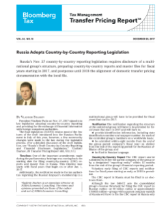 Russia Adopts Country-by-Country Reporting Legislation