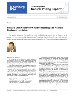 Russia's Draft Country-by-Country Reporting and Financial Disclosure Legislation