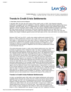 Expert Analysis: Financial Crisis Anniversary - Trends In Credit Crisis Settlements