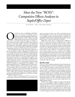 Meet the New 'Boss': Competitive Effects Analyses in Staples/Office Depot