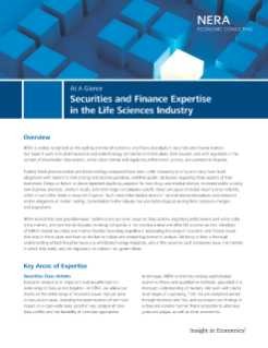 Securities and Finance Expertise in the Life Sciences Industry