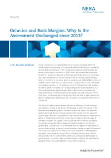 Generics and Back Margins: Why Is the Assessment Unchanged since 2013?
