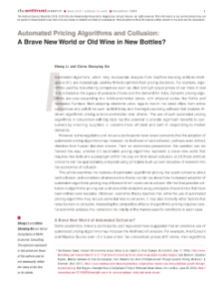 Automated Pricing Algorithms and Collusion: A Brave New World or Old Wine in New Bottles?