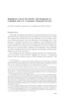 Regulation Across the Border: Developments in Canadian and US Consumer Financial Services