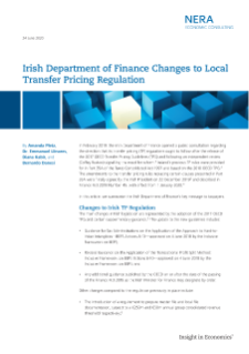 Irish Department of Finance Changes to Local Transfer Pricing Regulation