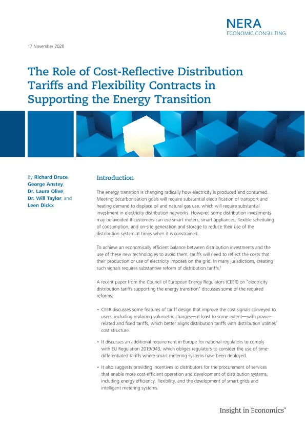 The Role of Cost-Reflective Distribution Tariffs and Flexibility Contracts in Supporting the Energy Transition