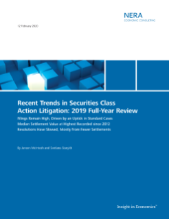 Recent Trends in Securities Class Action Litigation: 2019 Full-Year Review