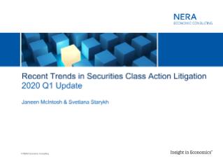 Recent Trends in Securities Class Action Litigation: Q1 2020 Update