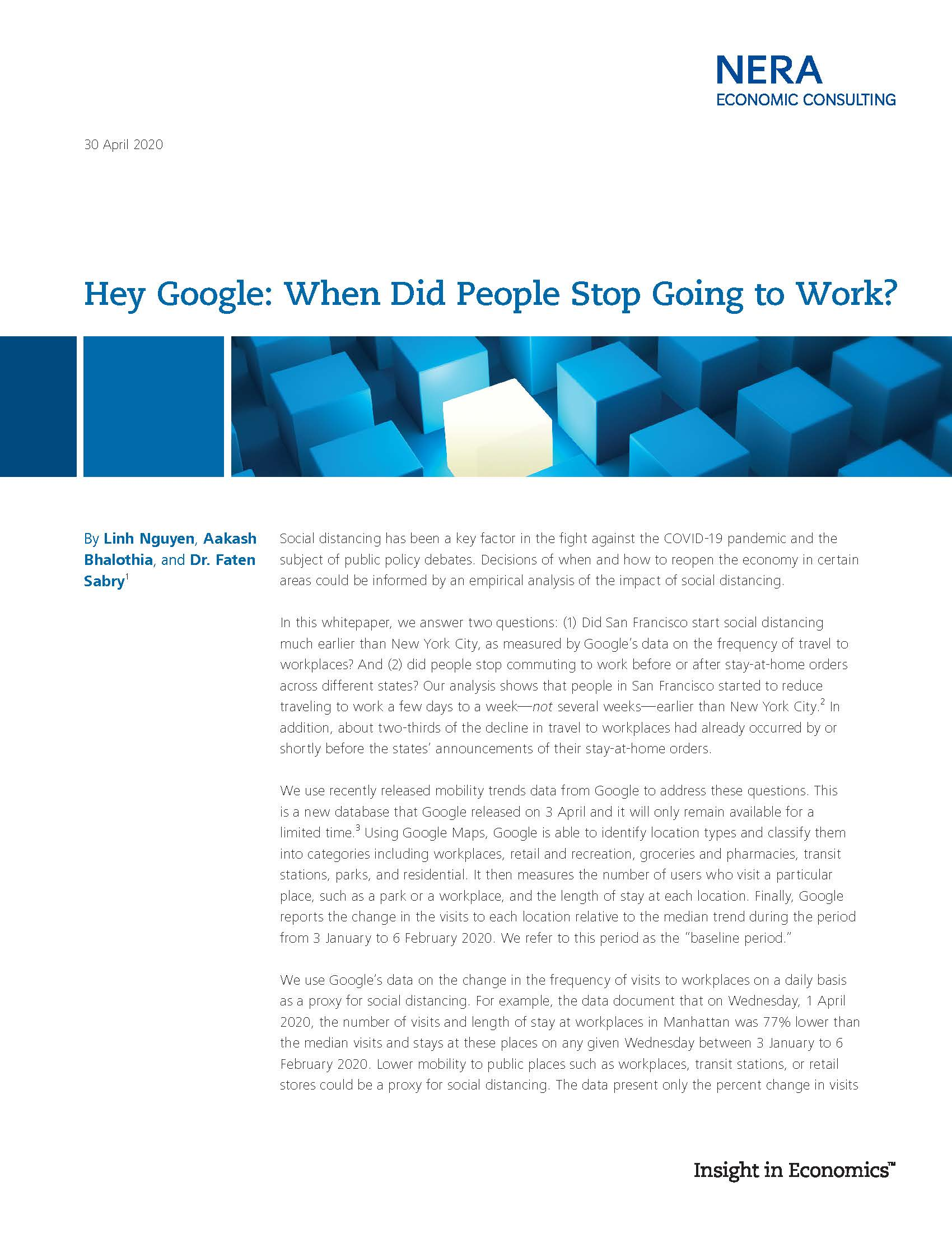 Hey Google: When Did People Stop Going to Work?