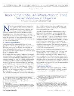 Tools of Trade—An Introduction to Trade Secret Valuation in Litigation