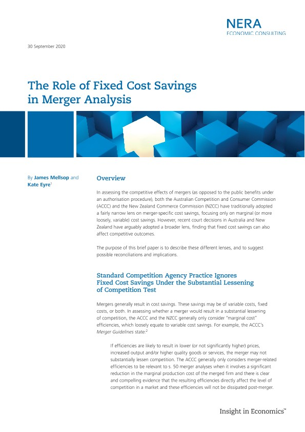 The Role of Fixed Cost Savings in Merger Analysis