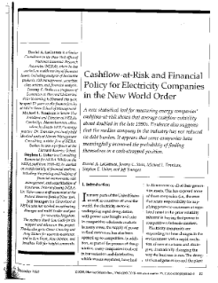 Cash Flow-at-Risk and Financial Policy for Electricity Companies in the New World Order