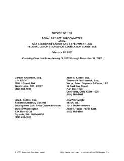Report of the Equal Pay Act Subcommittee of the ABA Section of Labor and Employment Law Federal Labor Standards Legislation Committee