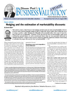 Hedging and the Estimation of Marketability Discounts