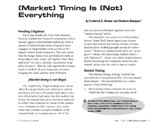 (Market) Timing Is (Not) Everything